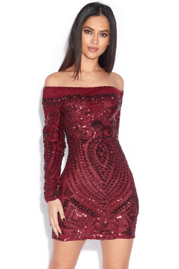 Luxe Off The Shoulder Sequin Embellished Dress