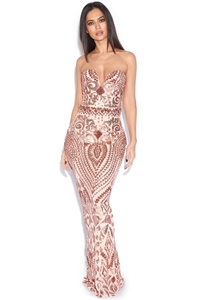 Luxe Rose Gold Sequin Plunge Sweetheart Dress