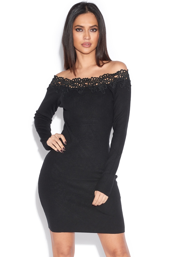 Off Shoulder Lace Trim Dress