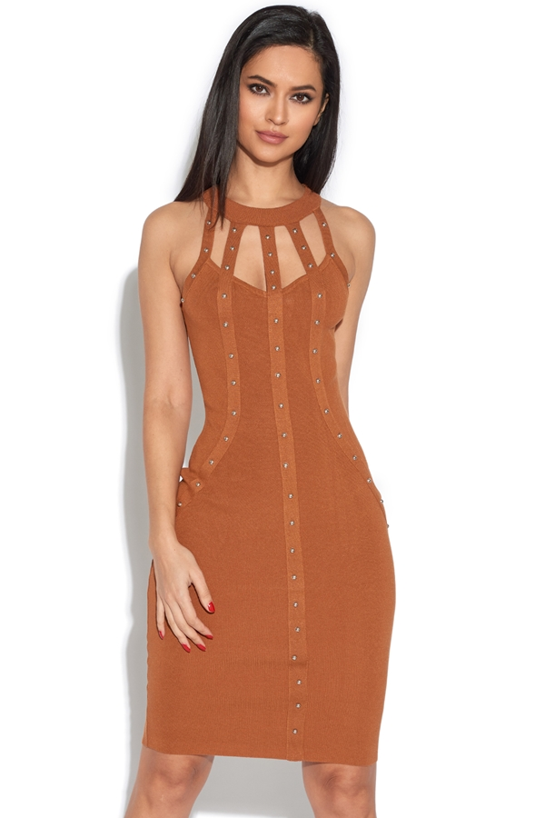 Studded Detail Cut Out Bodycon Dress