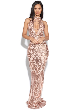 Luxe Keyhole Bust Embellished Gown