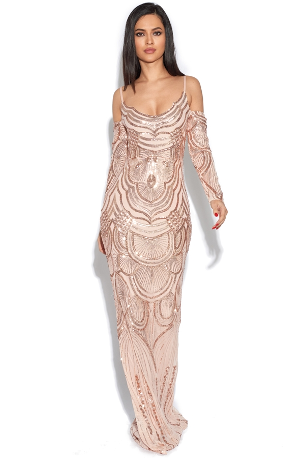 Luxe Illusion Embellished Mermaid Dress