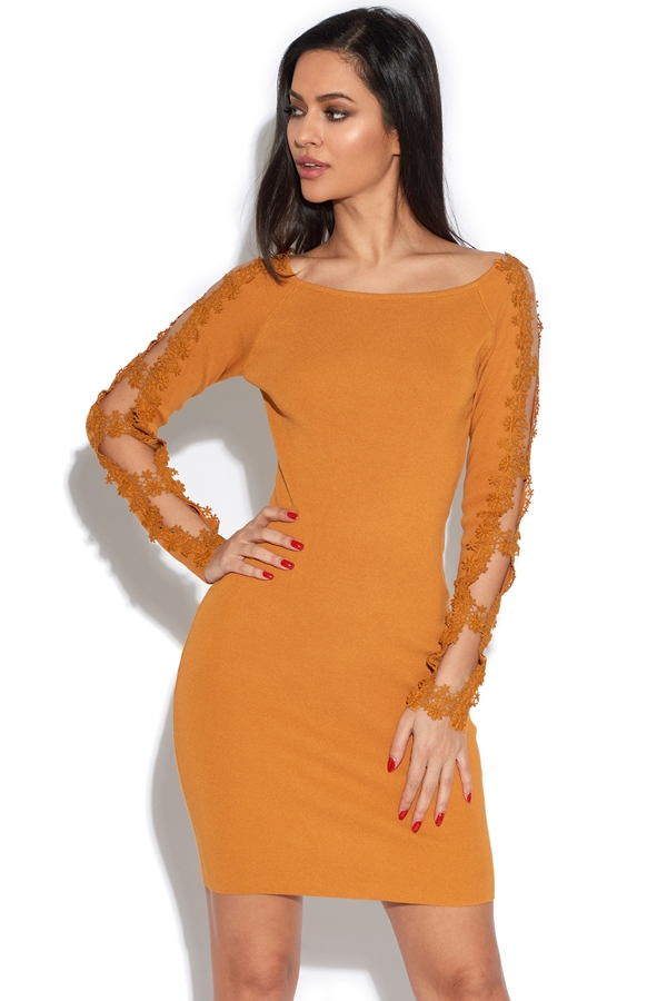Cut Out Embroidered Sleeve Bodycon Dress
