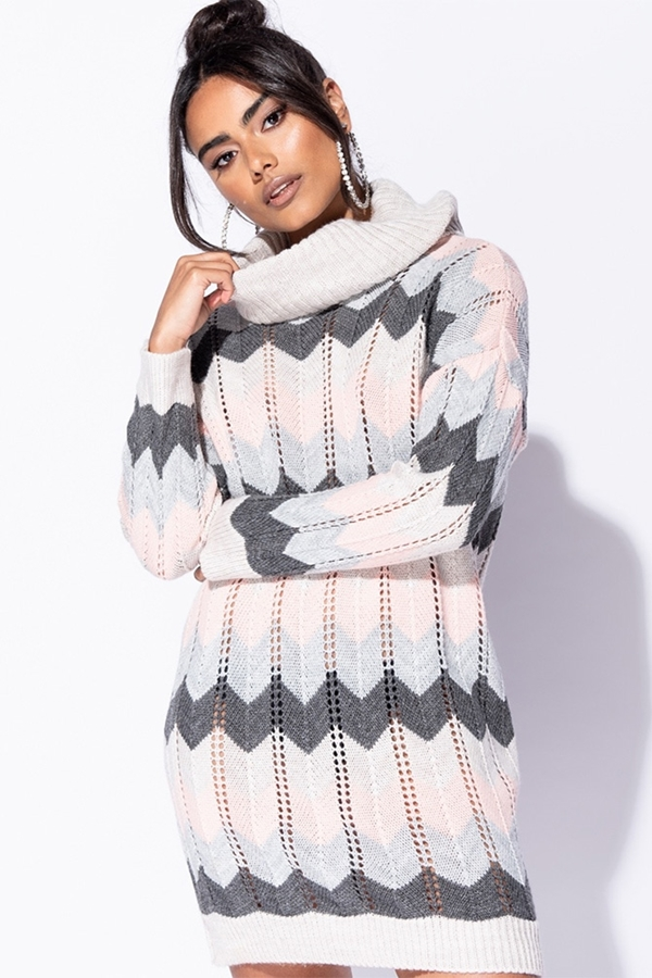 Pastels Roll Neck Jumper Dress
