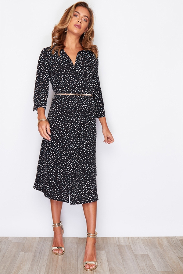 Spot Print Side Split Shirt Dress