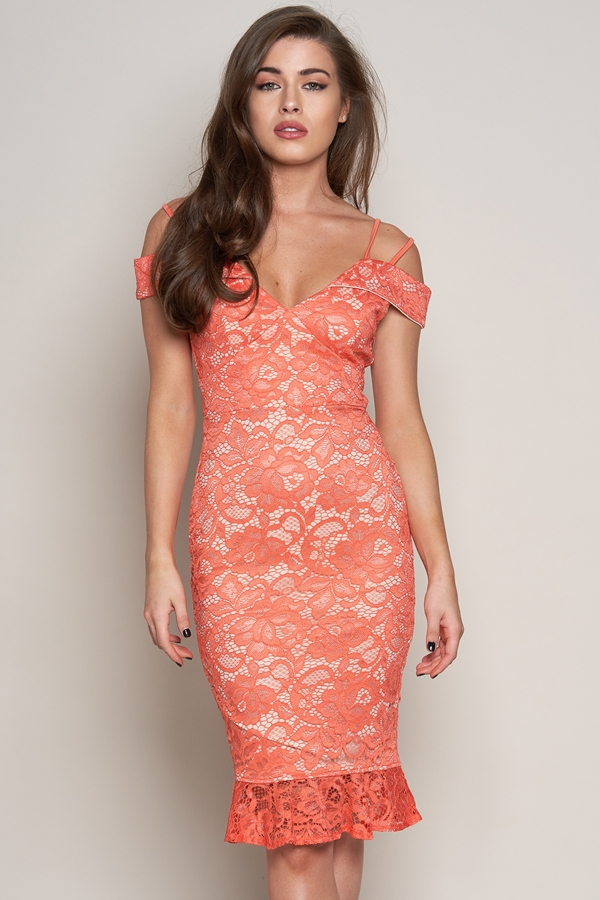 Off The Shoulder Lace Midi Dress
