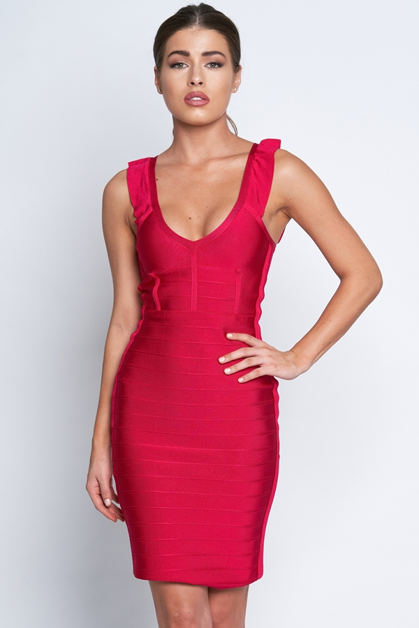 Luxe Frill Shoulder Bandage Dress