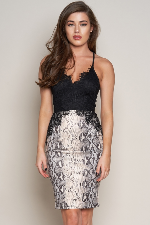 Lace Top Midi Dress Black/Snake Print