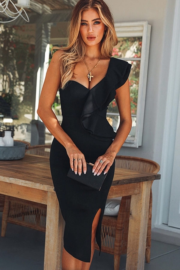 Luxe One Shoulder Frill Detail Dress