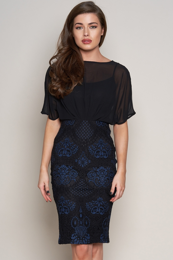 Batwing Lace Midi Dress