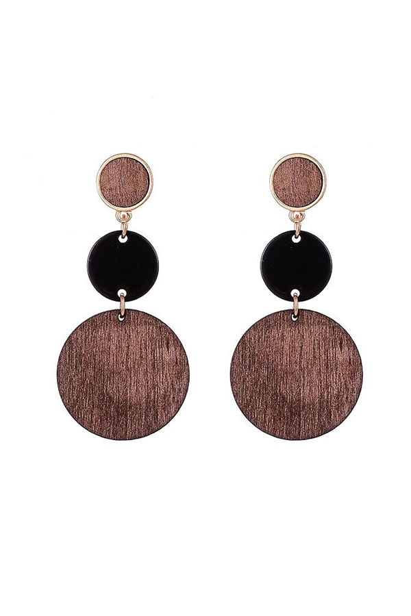 Multi Wood Disc Earrings