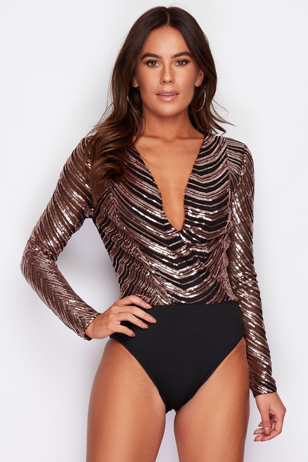 Black and Gold Sparkle Sequin Top Bodysuit