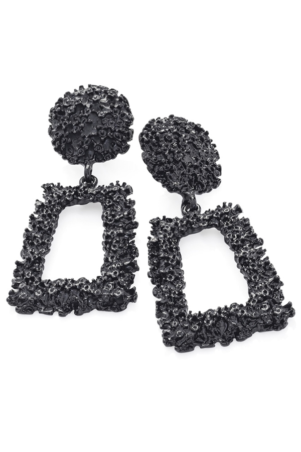 Textured Rectangle Drop Earrings