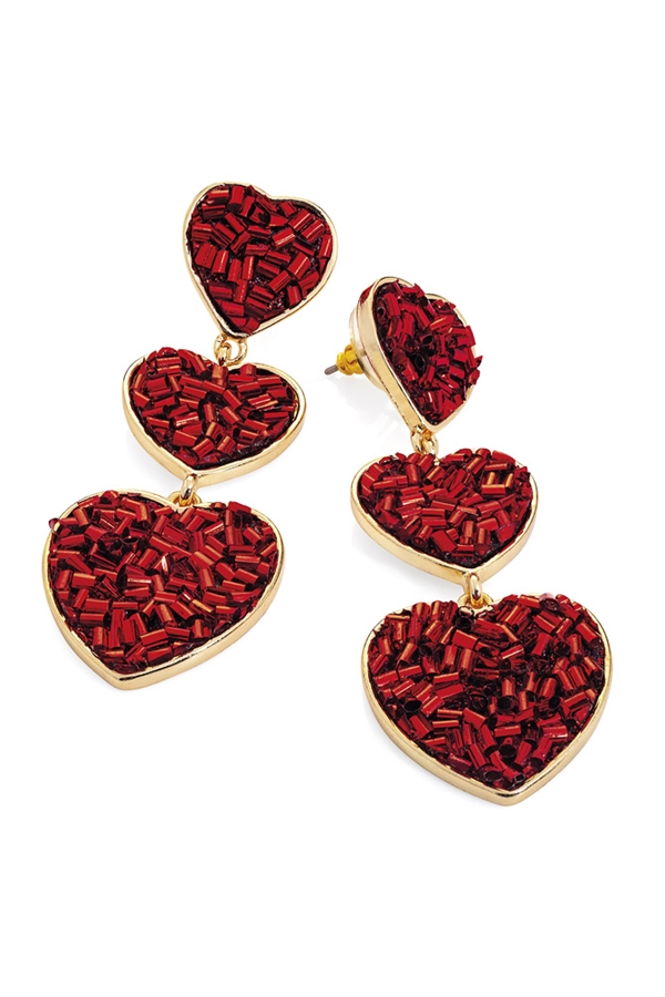 Red Heart Drop Earrings
