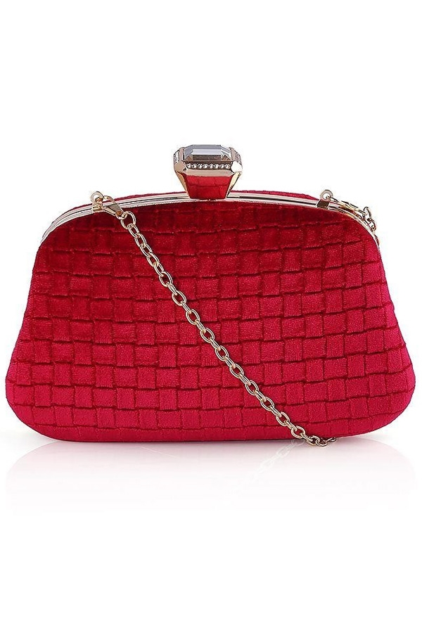 Velvet Textured Bag with Large Diamante Clasp