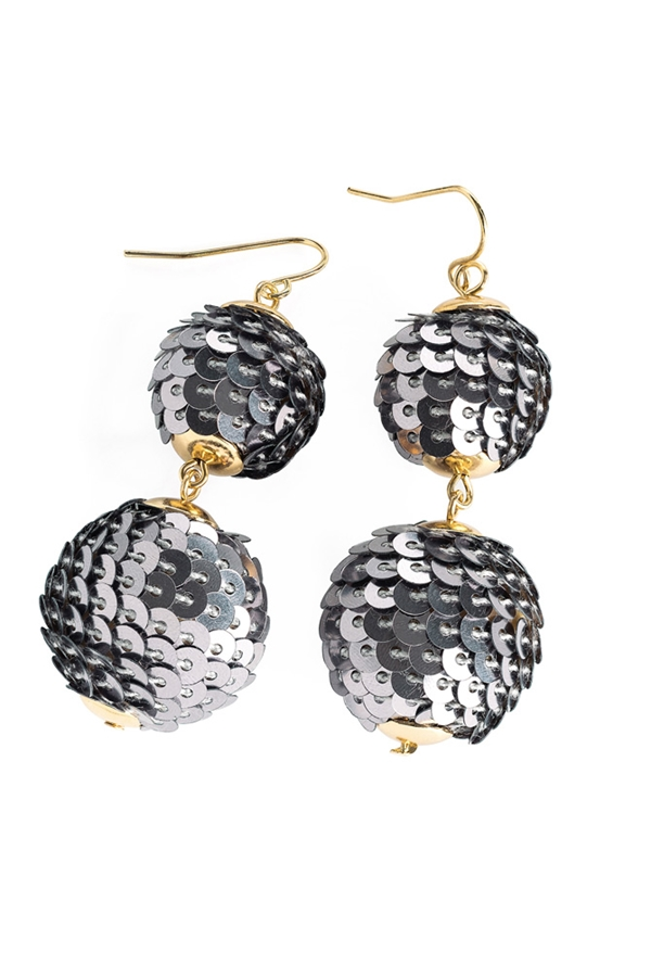 I am The Party Sequin Ball Drop Earrings