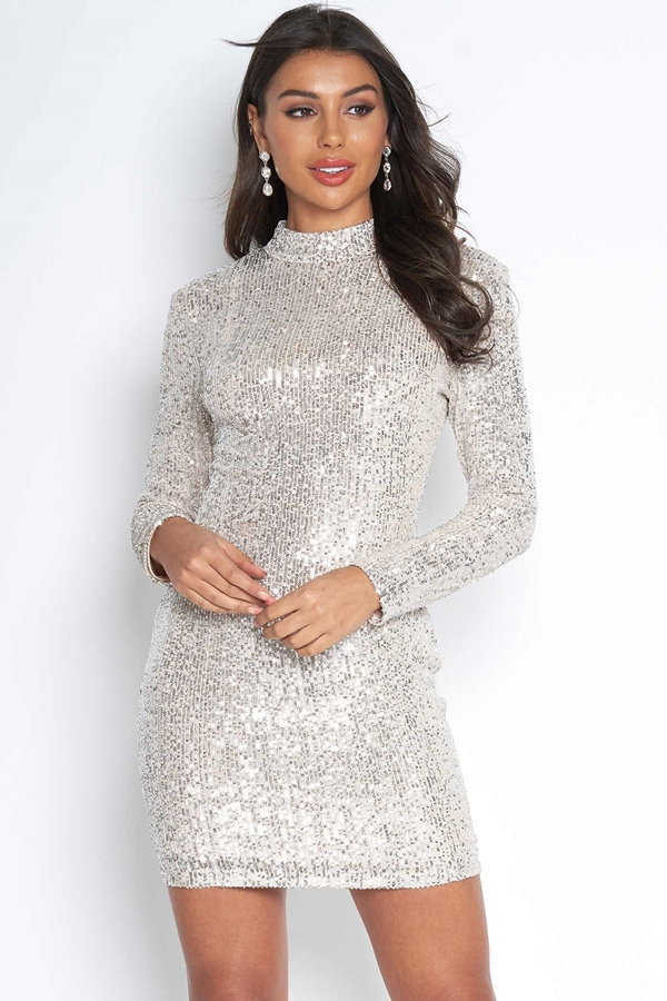 High Neck Sequin Bodycon Dress