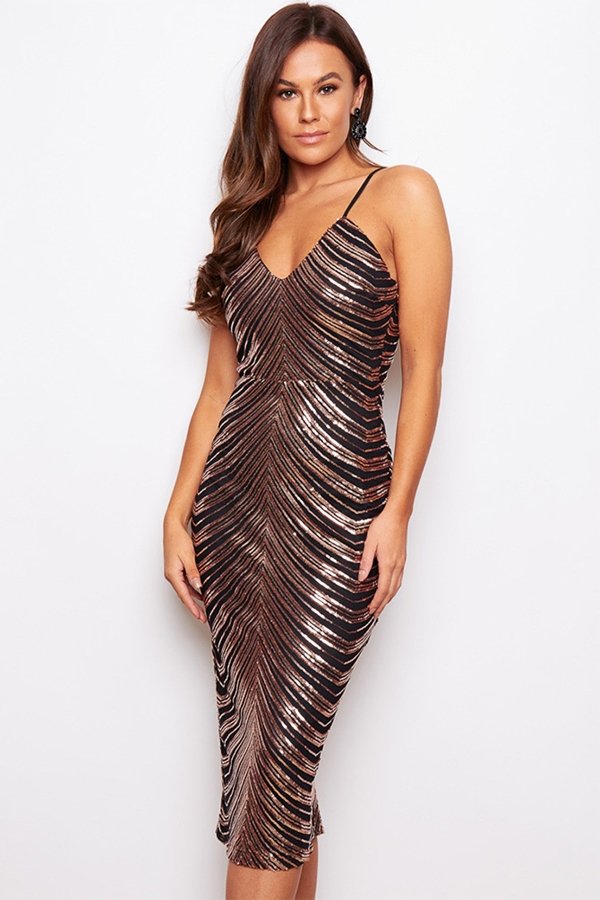 Strappy Rose Gold Sequin Midi Dress