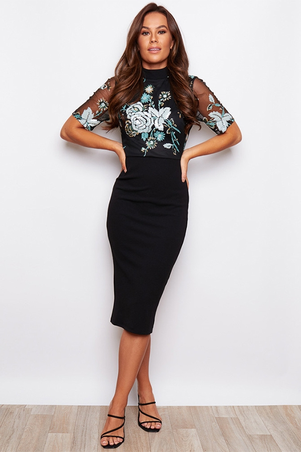 Floral Sequin Top Midi Dress