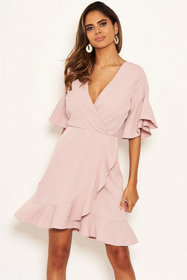 V Neck Frill Detail Dress