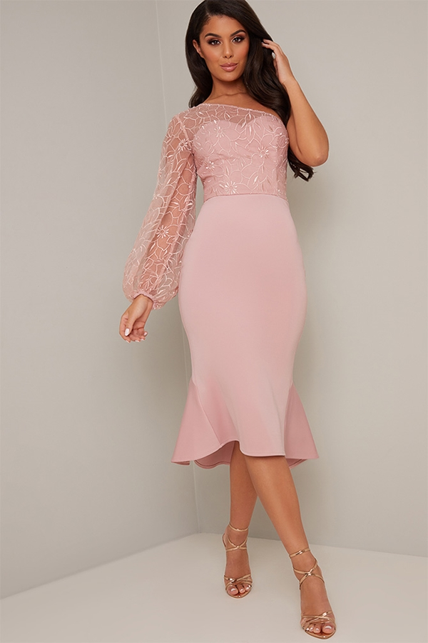 Pink Embroidered One Sleeve Dress