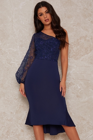 Embroidered One Sleeve Dress