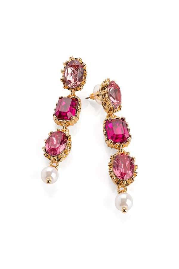 Pink Tone Drop Earrings with Faux Pearl