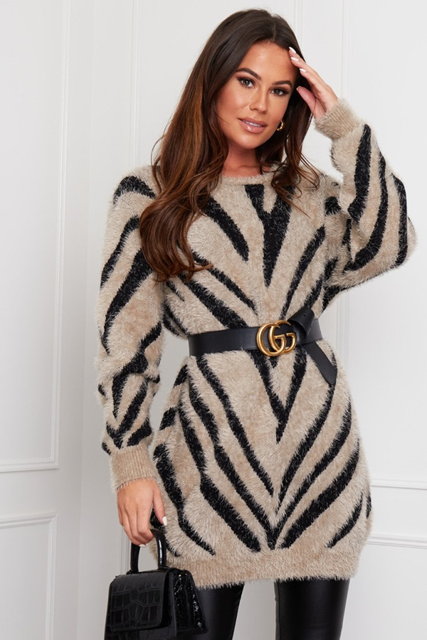 Jumper Dress In Fluffy Zebra Print
