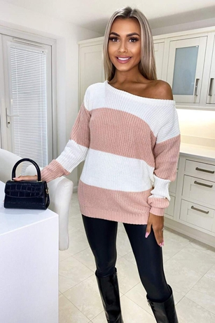 Colour Block Striped Knitted Jumper