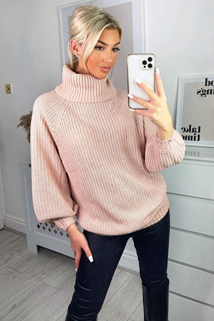 Roll Neck Balloon Sleeved Knitted Jumper