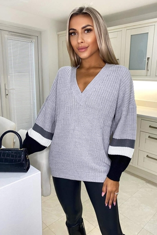 Silver Striped Sleeve Knitted Jumper