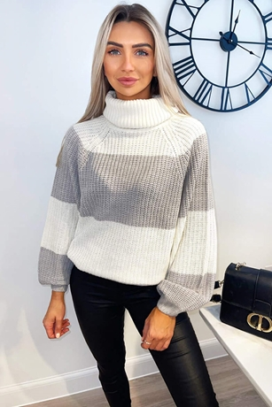 Silver and Cream Colour Block Knitted Jumper