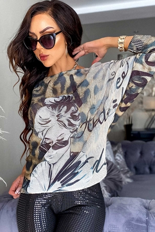 Leopard and Girl Print Batwing Top